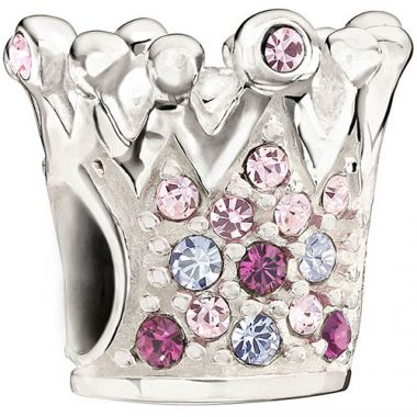 Sterling Silver Chamilia Crystal Crown Purple Bead Charm